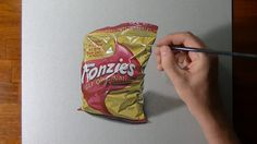 illusion drawing time lapse: How to draw and color a bag of Fonzies chips (Italian version of Twisties), mixed media on gray paper by Marcello Barenghi - . 3d Drawing Images, Cool Pencil Drawings, 3d Drawings, Realistic Drawings, Drawing Ideas, Hyperrealistic Drawing, Hyper Realistic Paintings, Object Drawing, Chip Bags
