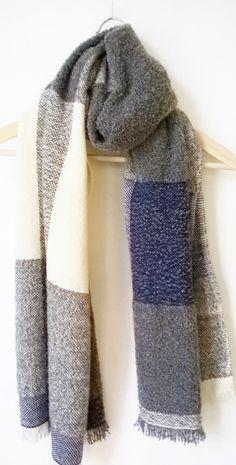 Handwoven Cashmere Merino Mohair Check Scarf Cobalt by Handarbete