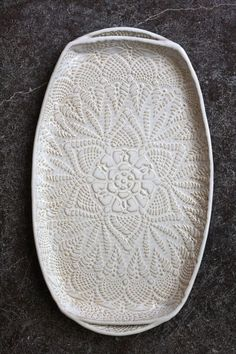 Handmade ceramic platter and trays | Handmade Pottery Tray White Lace Ceramic by FringeandFettle. Love this ...