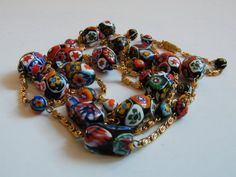 """The MAGNIFICENT MURANO Art Glass Star and Flowers 54"""" Gold Chain and Graduated Glass Beaded Necklace Vintage 1980s"""