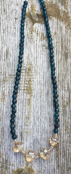 Blue with champagne crystal. by BellaMiJewelry on Etsy
