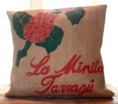 Berry Burlap Pillow by CCurate on Etsy
