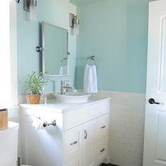 Blue Bathroom Paint Colors, Cottage, bathroom, Benjamin Moore Palladian Blue, Maria Killam Interior Design