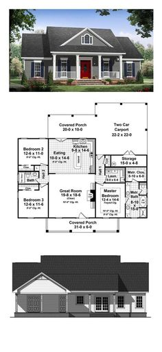 Country House Plan 59936 Total Living Area 1640 sq ft 3 bedrooms and 2 bathrooms The master suite features a wonderful bathroom with large walkin closet The great room h. Ranch House Plans, Best House Plans, Country House Plans, Dream House Plans, Small House Plans, House Floor Plans, Country Houses, Dream Houses, House Plans With Porches