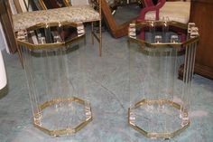 Lucite… Vintage PAIR Lucite Brass End Side Tables OR by feelinvintage