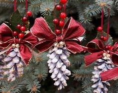 Pine Cone Christmas Ornament Burgundy Vintage