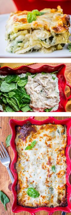 This EASY lasagna is filled with chicken, pesto, spinach, and a creamy (slightly lightened up) white sauce. And of course a healthy dose of ricotta!