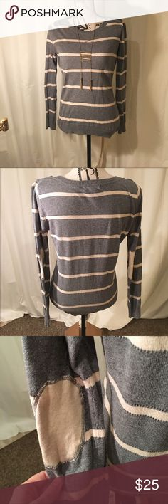 SALE Pink Rose Gray striped Sweater Only worn a couple times and has super cute elbow pads. Pink Rose Tops