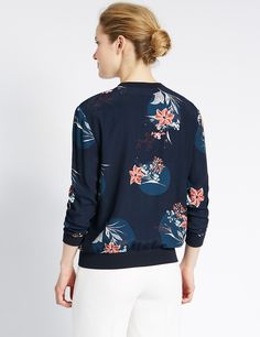 Loose Fit Floral Bomber Jacket