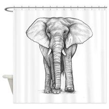 Elephant Drawing Shower Curtain for