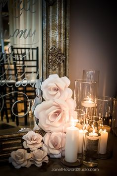 Paper flowers and candles flank an ornate mirror with vows--- Reception colors to a T! Floral Wedding, Diy Wedding, Wedding Events, Wedding Flowers, Perfect Wedding, Wedding Cake, Wedding Ideas, Weddings, Paper Flower Backdrop