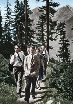 Walking with Adolf Hitler & Rudolf Hess at Berchtesgaden (about 1935)