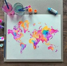 Image about beautiful in Art - Drawings/Paintings/Sketches by Butterfly Inspiration Art, Art Inspo, Art Diy, Diy Artwork, Art Design, Painting & Drawing, Neon Painting, World Map Painting, Deep Drawing