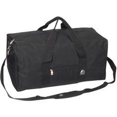 Everest 24-inch Basic Gear Duffel Bag ($18) ❤ liked on Polyvore featuring men's fashion, men's bags, black, mens weekend bag, mens bags, mens gym bag, mens leather duffle travel bag and mens travel bag