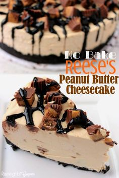 Reese's Peanut Butter No Bake Cheesecake - Loaded with smooth and creamy peanut butter and Reese's Peanut Butter Cups!