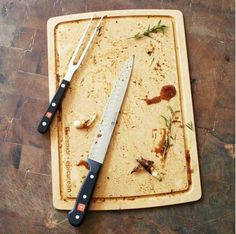 Wüsthof Carving Set with Epicurean Board | A good knife and carving fork are key, and we love this high-quality set from Wustof. We also love a carving board with a trough to prevent leakage all over your counter!