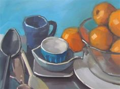 """Daily Paintworks - """"orange et bleu"""" - Original Fine Art for Sale - © gilles Poulizac"""