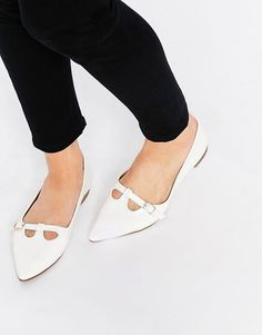White Tbar Point Flat Wedding Shoes