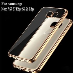 Coque per samsung galaxy s6 edge s6 s7 s7 edge case trasparente placcatura in oro trasparente tpu della copertura posteriore per samsung s6 edge caso