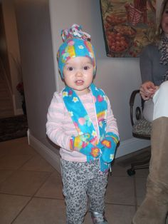 hat, scarf and gloves, made 2013 for granddaughter Clara