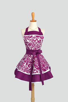 Ruffled Retro Apron . Flirty Full Womens Handmade Apron in Brandy and White Damask Cute Ruffled Vintage Style Skirt