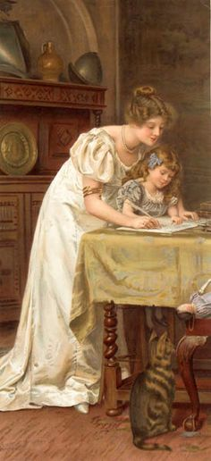 the-writing-lesson Maude Goodman (1860 – 1938, English)