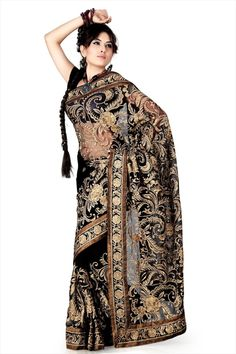 ef82d30553a07 So Good Looking Black Color Designer Party Wear  EmbroideredSaree Latest  Indian Saree