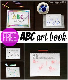Free ABC art book for preschool or kindergarten! Awesome alphabet activity or literacy center that is a fun hands on way to work on letter recognition and sounds! Abc Crafts, Alphabet Crafts, Book Crafts, Alphabet Art, Letter Crafts, Abc Games, Alphabet Activities, Book Activities, Preschool Activities