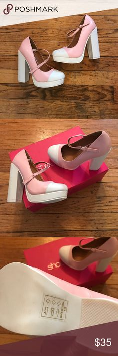 FINAL SALE!! 🎉Baby Pink & White Pumps 🦄 Brand new Mary Jane style Heels. Platform wedge heel. Beautiful color. Size 6! Offers welcome 😊 Shoes Heels