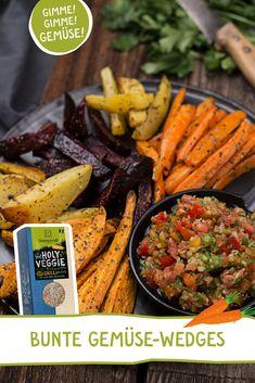"""mit unseren feinen Gemüse-Grillgewürzen """"Holy Veggie"""" und """"Smokey Salt"""" #grillgewürz #grillsalz #rauchsalz #räuchersalz #grillen #vegetarischgrillen #wedges #potatowedges #gemüsegrillen #veggiebbq #grillparty #rezept #smokeysalt #holyveggie Healthy Dinner Recipes, Appetizer Recipes, Appetizers, Grilled Vegetables, Veggies, Grill Party, Colorful Vegetables, Potato Wedges, Pot Roast"""