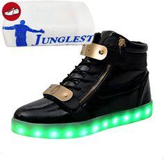 [Present:Kleines Handtuch] Schwarz 39 EU für Aufladen Leuchtend Damen Sport Hoch Farbe USB Herren Unisex Weise 7 Schuhe High-Top LED Turnschu eme1WnadIA