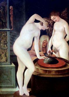 Hans Baldung Grien 1484-1545_ Strasbourg et Freiburg_ Femmes au bain avec miroir 1515. Karlsruhe