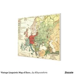 Vintage Linguistic Map of Europe (1907) Canvas Print