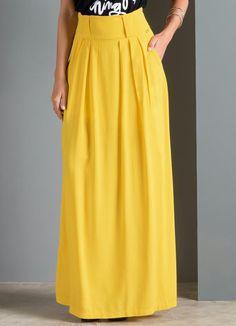 Saia Longa com Bolsos (Amarela) Modest Dresses, Modest Outfits, Dress Outfits, Fashion Outfits, Elegante Y Chic, Modelos Fashion, Types Of Skirts, Western Wear For Women, Abaya Fashion