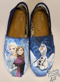 outlet store 2d1d1 ec923 Disneys Anna amp Elsa Toms Shoes by ZacharyConnellyArt Toms Boots, Toms  Shoes Wedges,