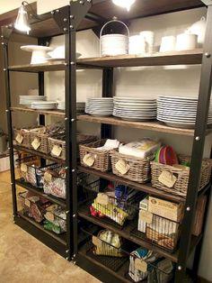 Organizing Open Pantry Shelves - great place to use baskets! Small Kitchen Organization, Diy Kitchen Storage, Kitchen Pantry, New Kitchen, Kitchen Decor, Organization Ideas, Basement Storage, Storage Ideas, Storage Baskets