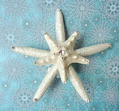 Christmas Tree Topper - Pearly Crystal Starfish Holiday Tree Topper by ShellScapes