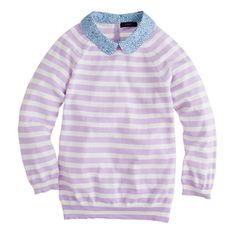 Crew Liberty-Collar Merino Sweater in Stripe Size XS. This is a darling sweater, but since I'm allergic to wool, I unfortunately just can't do it. Liberty Art Fabrics, Liberty Print, Liberty Of London, Pullover, Spring Summer Fashion, Sweaters For Women, Women's Sweaters, My Style, Peter Pan