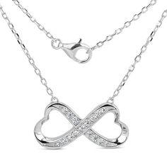 Stříbrný náhrdelník PRIA Infinity se zirkony SHZN078 Infinity, Silver, Jewelry, Infinite, Jewlery, Jewerly, Schmuck, Jewels, Jewelery