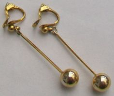 A pair of gold tone dropper balls clip on earrings A little vintage wear to the gold tone clips which are stamped PATENTED Measurement the earrings Vintage Wedding Jewelry, Vintage Wear, Clip On Earrings, Balls, Jewellery, Gold, Jewels, Jewelry Shop, Schmuck
