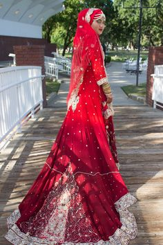 Hijab Muslim bride- red, gold & silver. Custom dress $1200. Indian, pakistani, Fijian, American bride