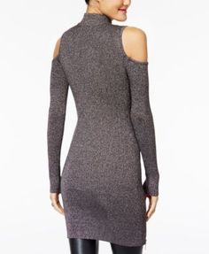 Material Girl Juniors' Metallic Cold-Shoulder Sweater Dress, Created for Macy's - Purple XXL