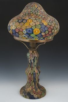 the mushroom cap millefiori glass lamp has as a fitter, single bulb with pull chain, millefiori base. Stained Glass Lamps, Murano Glass, Mosaic Glass, Glass Art, Antique Lamps, Vintage Lamps, Vintage Lighting, Art Nouveau, Lampe Art Deco