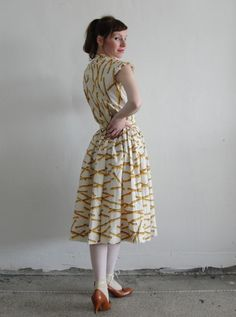 1950s Bamboo Print Two Piece  Shirt Skirt Vintage by VeraVague, $95.00