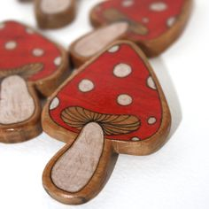 Illustrated Toadstool Mushroom Wood Brooch by JettasNest on Etsy
