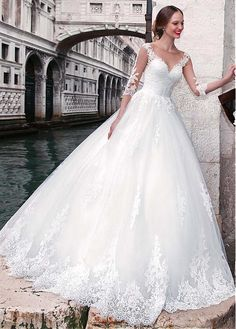 Buy discount Chic Tulle Jewel Neckline A-line Wedding Dress With Lace Appliques at Laurenbridal.com