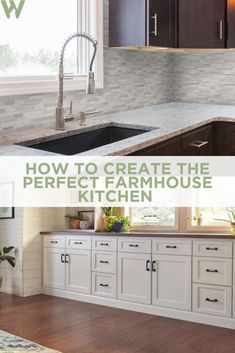 If you're looking to create a farmhouse style kitchen in your home, read our tips for features and types of cabinets to include in your design. Farmhouse Garden, Farmhouse Style Kitchen, Modern Farmhouse Kitchens, Farmhouse Design, Home Kitchens, Farmhouse Decor, Kitchen Plants, Kitchen Decor, Kitchen Ideas