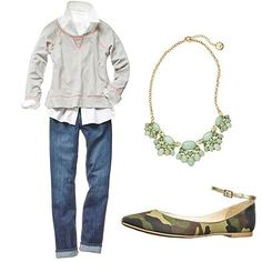 This is about the only way I'd wear a collared shirt :) Love it layered beneath a casual top with a fancy necklace on top. Not crazy about the camo flats.
