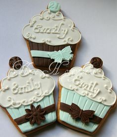 cupcake name cookies in brown and turquoise