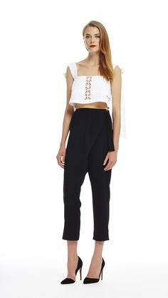 Picnic Top - White & Cross Over Pant - Black